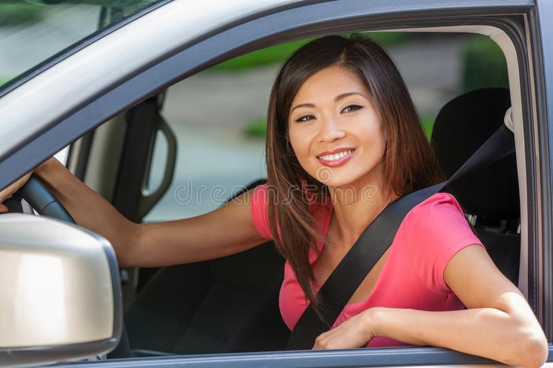 Chinese Asian American Girl Young Woman Driving Car stock photo