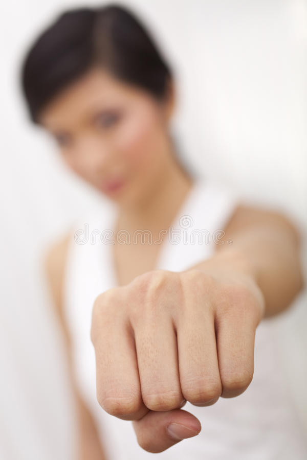 Chinese Asian Girl Martial Arts Fist Punch Stock Images