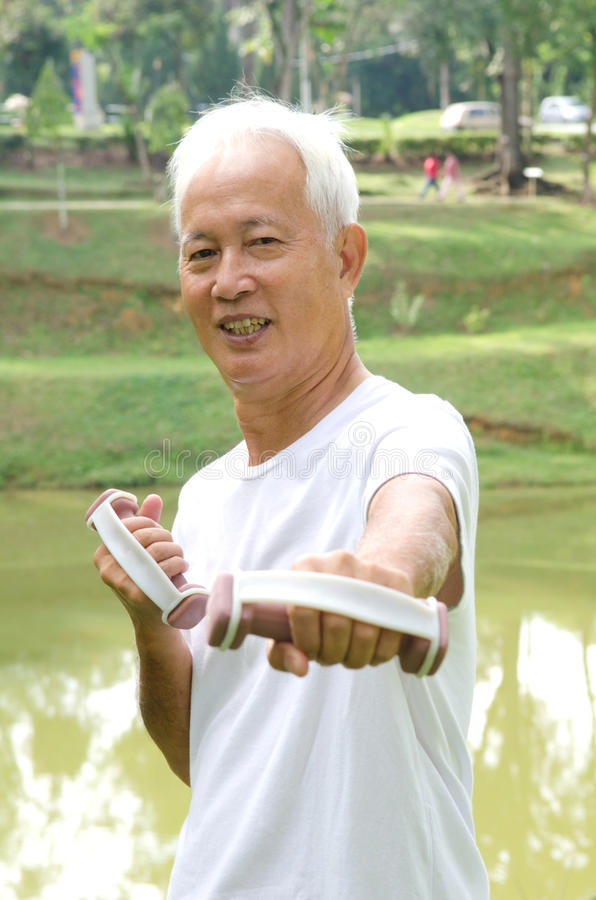 Download Chinese Asian Senior Man Healthy Lifestyle Working Out On A Park Stock Photography - Image: 30763222