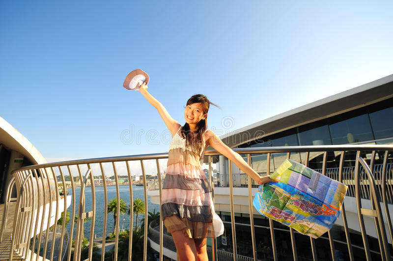 Chinese Asian Tourist enjoying holiday royalty free stock images