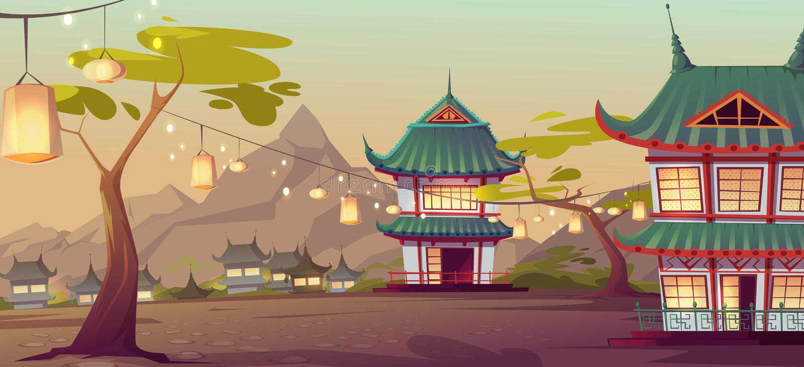 Chinese, asian village with traditional houses. And festival lanterns on street. Vector cartoon landscape with chinese, japanese buildings and mountains on vector illustration