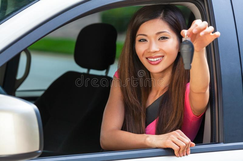 Chinese Asian Young Woman Girl Holding Key Driving Car Smiling royalty free stock images