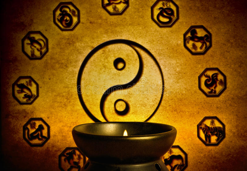 Chinese astrologie en yin yang royalty-vrije stock fotografie