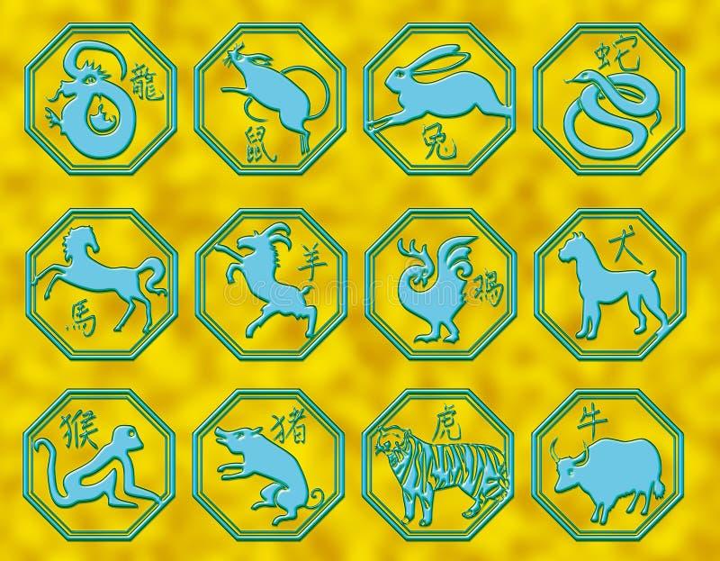 Chinese astrologiesymbolen royalty-vrije illustratie