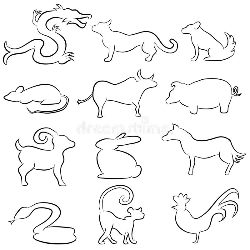 Zodiac Line Art : Chinese astrology animal line drawings stock vector