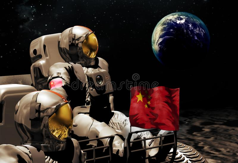 Chinese Astronauts on the Moon. Chinese astronauts on a Moon vehicle, observing the Earth rising above our satellite. The chinese space administration announced royalty free illustration