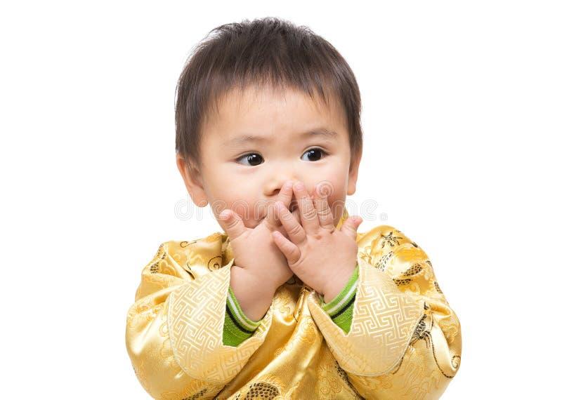 Chinese baby boy feel shocking royalty free stock photo