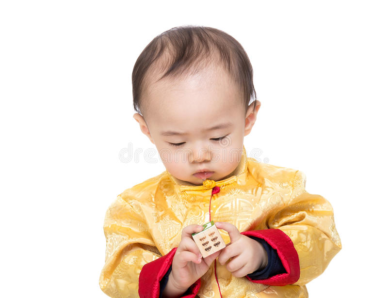 Chinese baby boy play toy block. Isolated royalty free stock photography