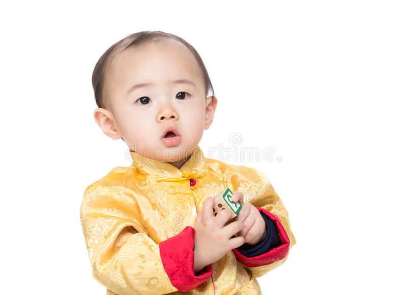 Chinese baby boy play toy block. Isolated on white stock images
