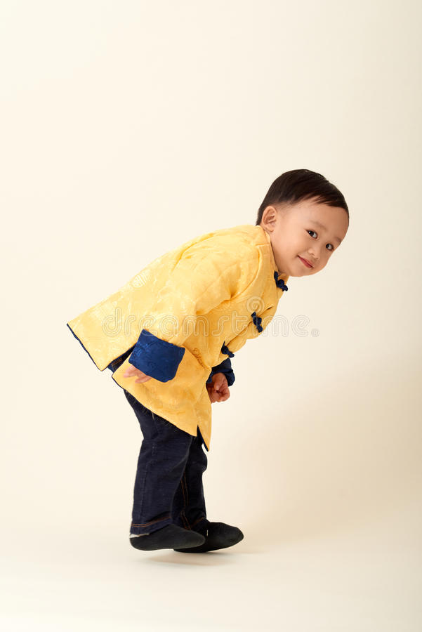 Chinese baby boy in traditional Chinese New Year outfit stock photos