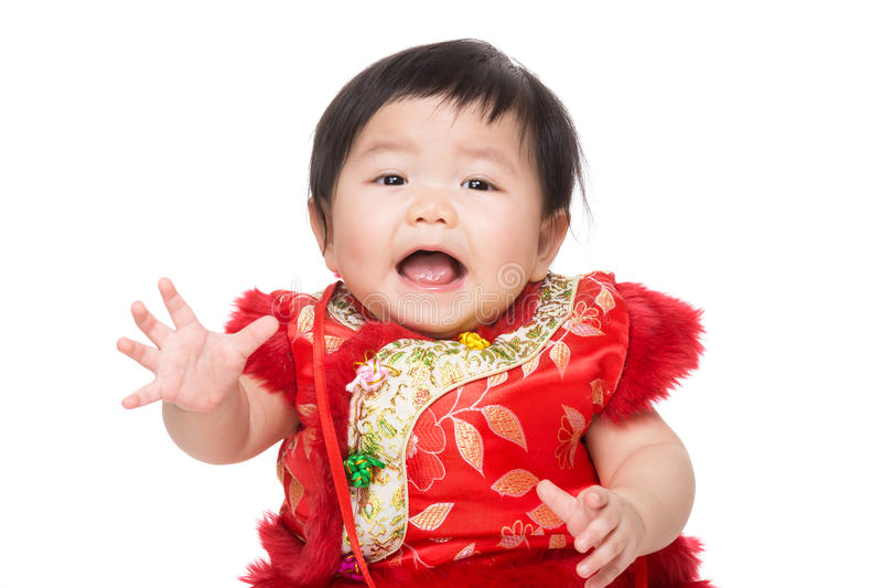 Chinese baby girl feel surprise. Isolated on white royalty free stock photography