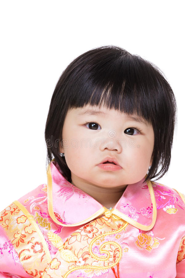 Chinese baby girl with traditional costume royalty free stock photos