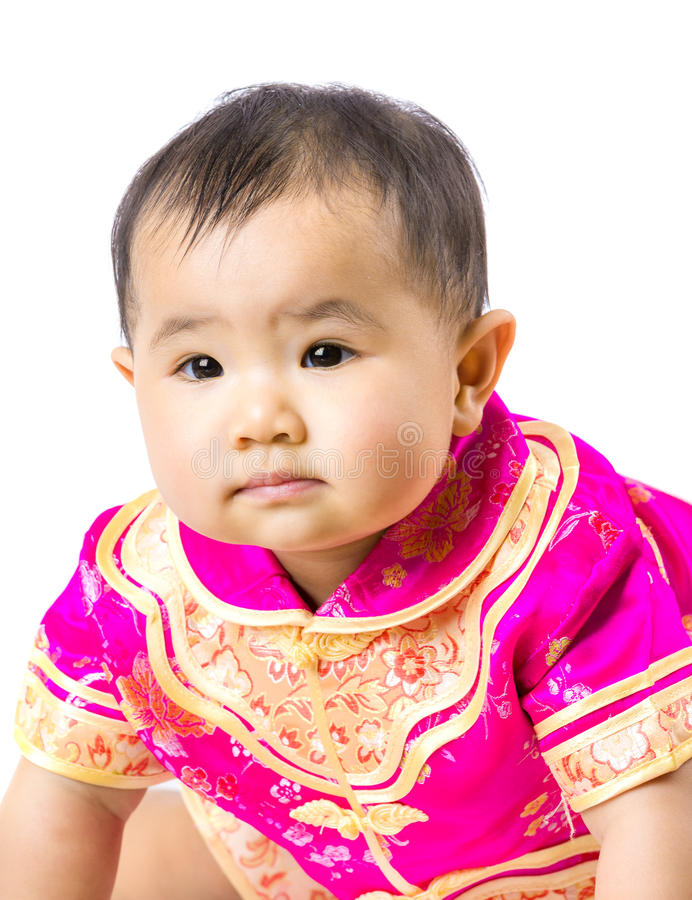Chinese baby girl with traditional costume royalty free stock photo
