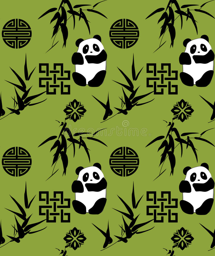 Chinese bamboo and panda seamless background vector illustration