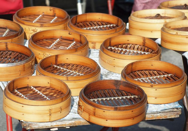 Chinese Bamboo Steamers stock image