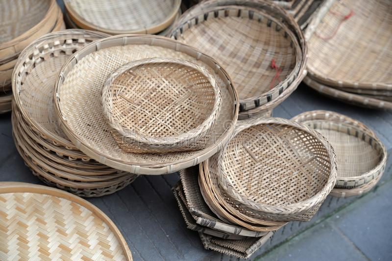 Chinese bamboo weaving. Some bamboo basket sale in a bamboo weaving store in a ancient town, Sichuan,China stock photo