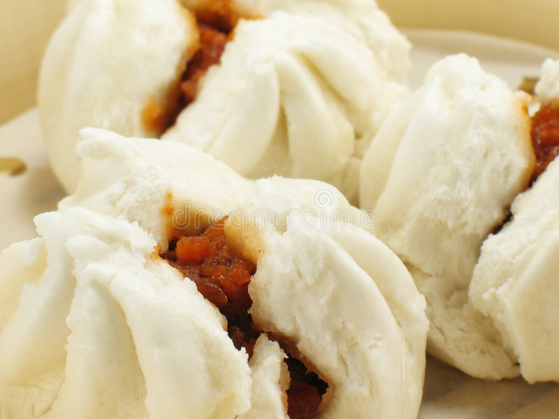 Chinese BBQ Pork Buns. (char siu bao stock photo