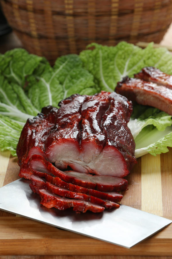 Chinese BBQ roast pork slice stock images
