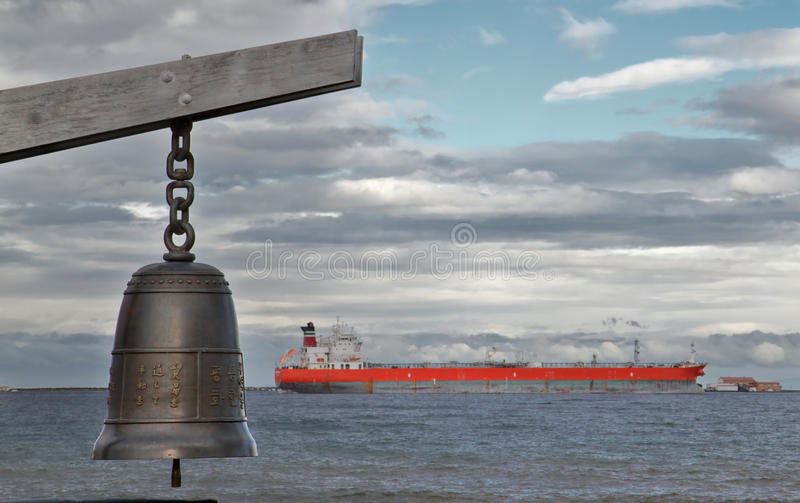 Chinese Bell and Ship royalty free stock image