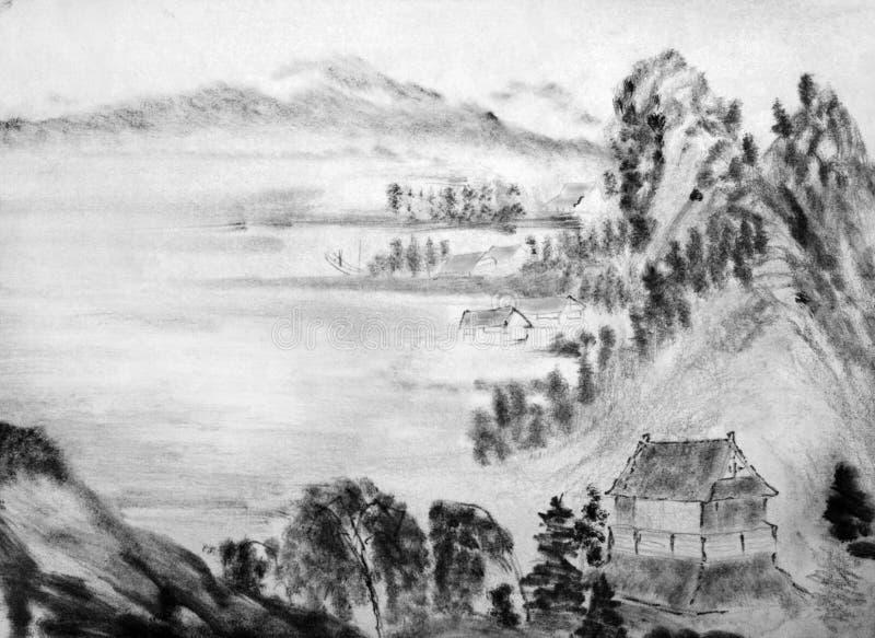 Chinese bergen en hutten royalty-vrije illustratie