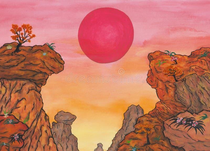 Chinese bergketen met het toenemen rode zon en bomen en bloemen stock afbeeldingen