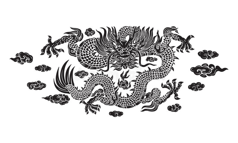 Chinese black dragon with cloud. Vector royalty free illustration