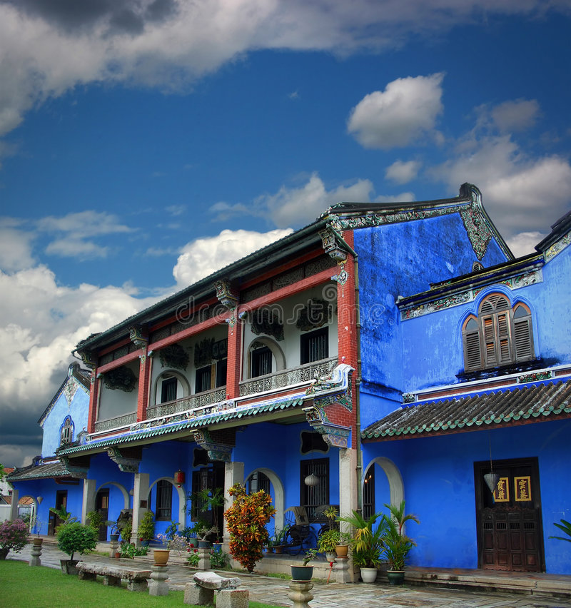Download Chinese Blue Mansion Under Cloudy Sky Stock Photo - Image of malaysia, blue: 6470488