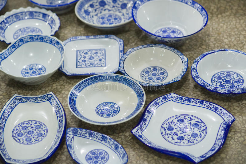 Chinese blue and white porcelain stock photo