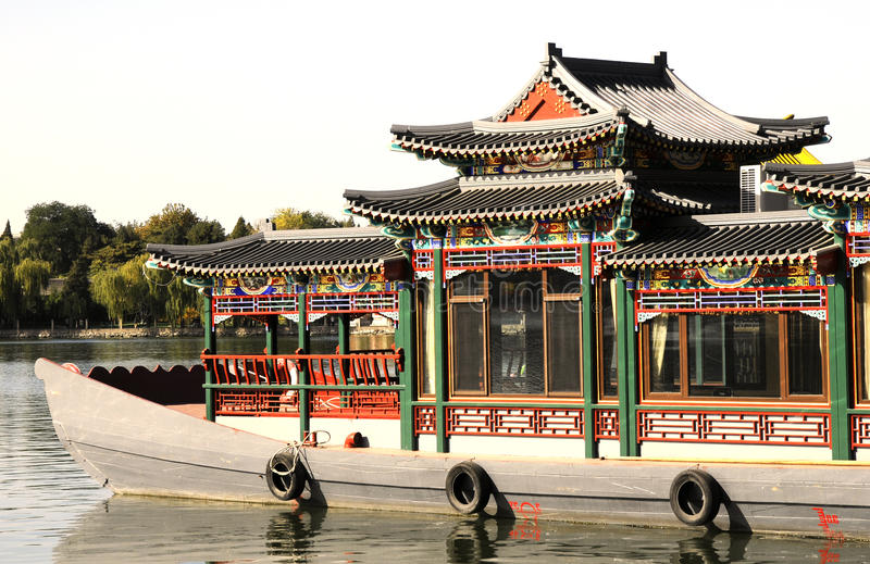 Chinese boat with pavilion royalty free stock photos