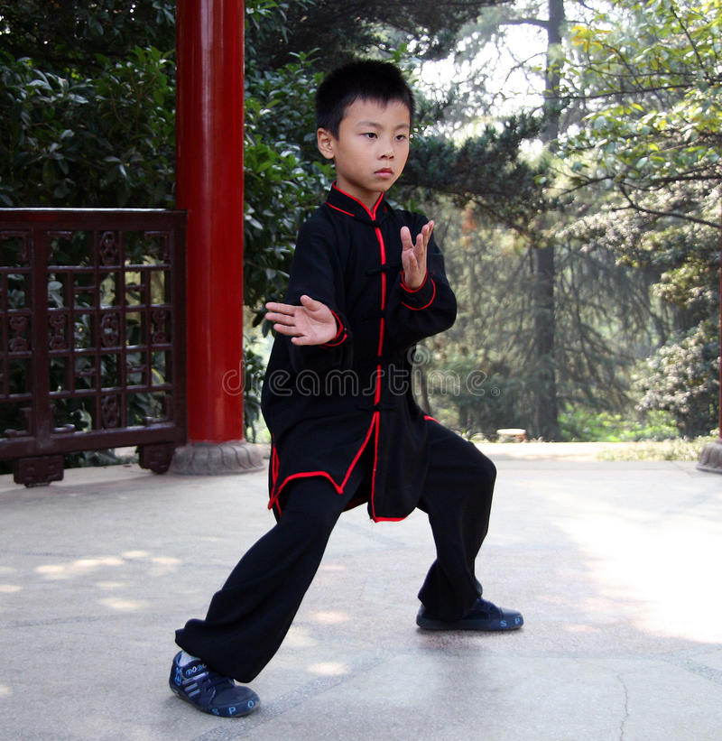 Chinese boy doing wushu in the park stock photography