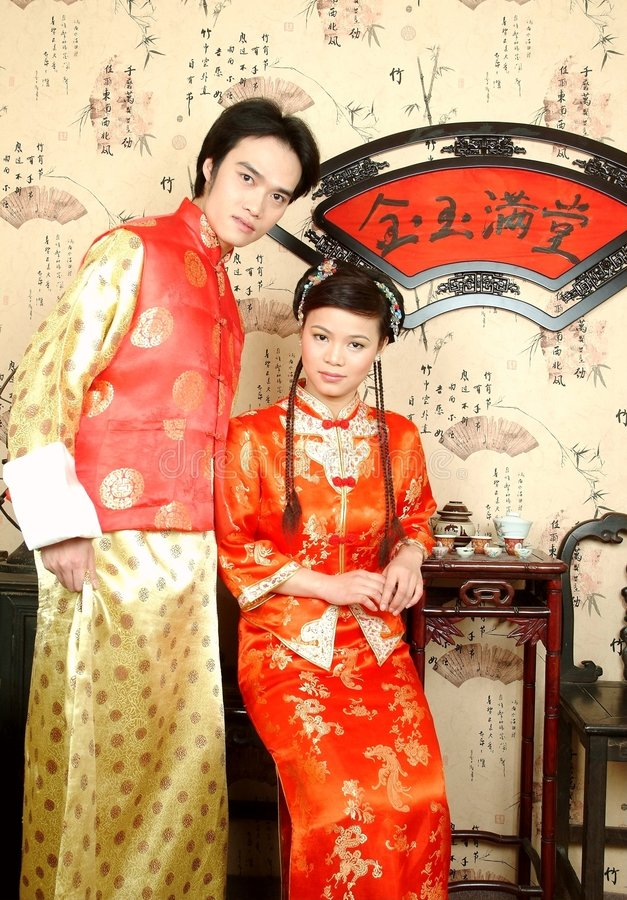 The chinese bride couples royalty free stock images