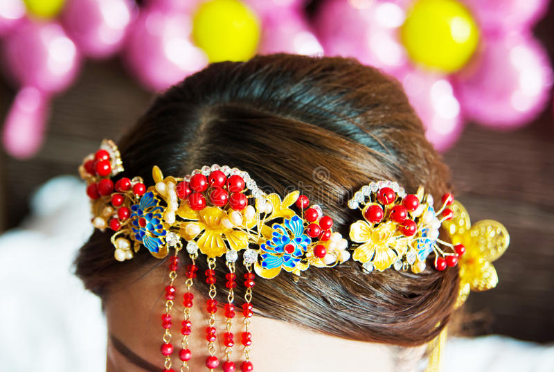 Chinese bride hair style close up stock images