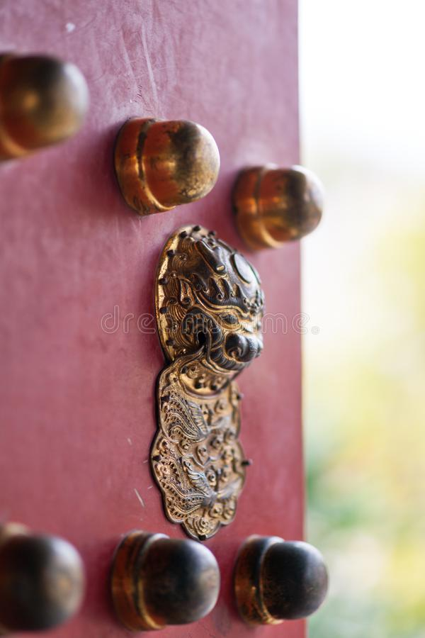Chinese bronze lion head door knocker royalty free stock photo