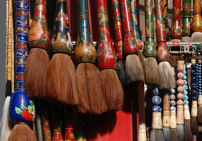 Chinese brushes. Many kinds of Chinese brushes for painting stock images