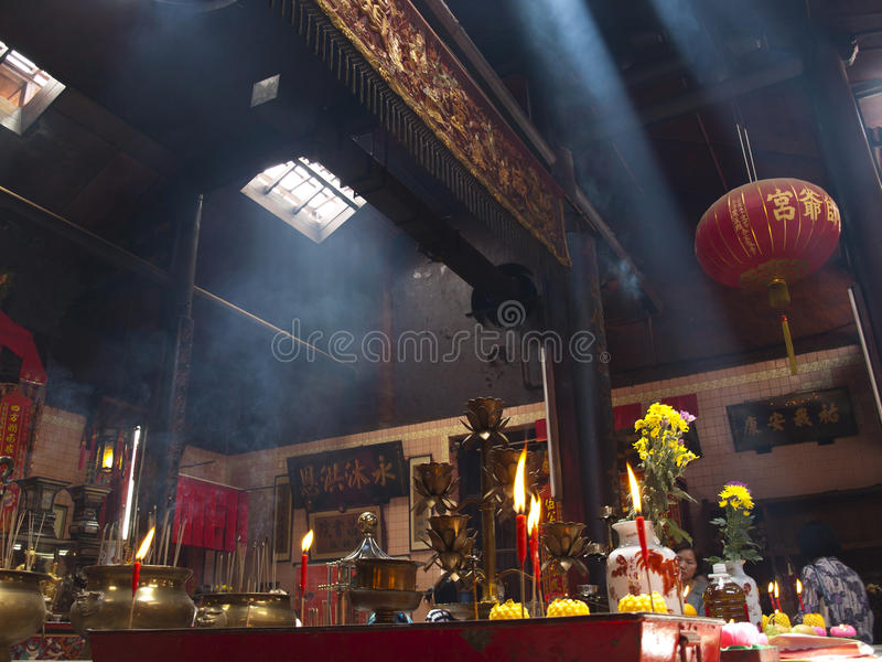 Chinese Buddhism temple. Interior with suspension of red lanterns. Kuala Lumpur, Malaysia stock photos