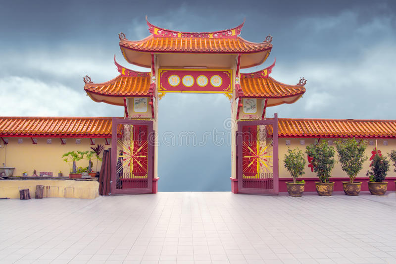 Chinese buddhist temple gate royalty free stock image
