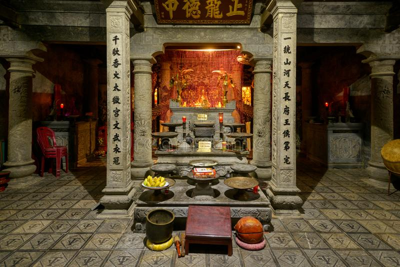 Chinese buddhist temple inside interior stock photography