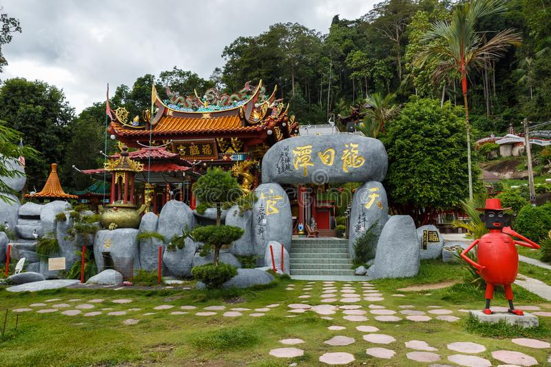 Chinese Buddhist temple on the island of Pangkor, Malaysia in november 29. PANGKOR, MALAYSIA - NOVEMBER 29, 2017: Chinese Buddhist temple on the island of royalty free stock photo