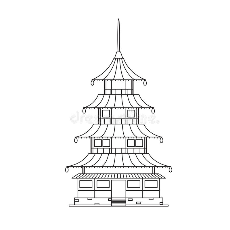 Chinese Buddhist Temple, Monastery Building. Vector royalty free illustration