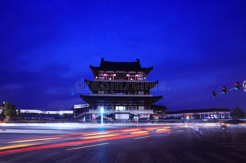 Download Chinese building stock photo. Image of night, changsha - 7261826