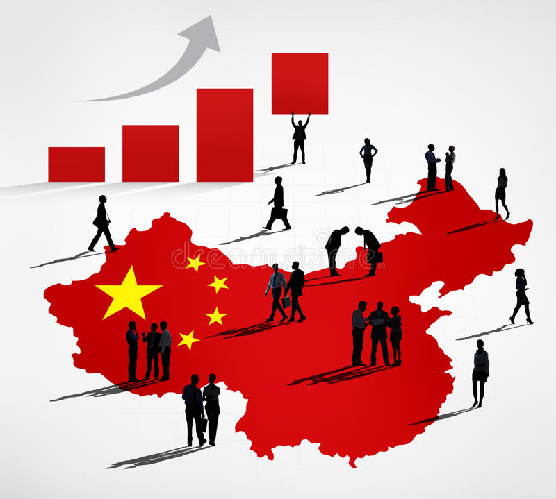 Chinese Business People with Infographic. Chinese business themed photo with a group of bussinessmen royalty free illustration