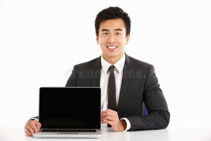 Download Chinese Businessman Working On Laptop Stock Image - Image: 26099867