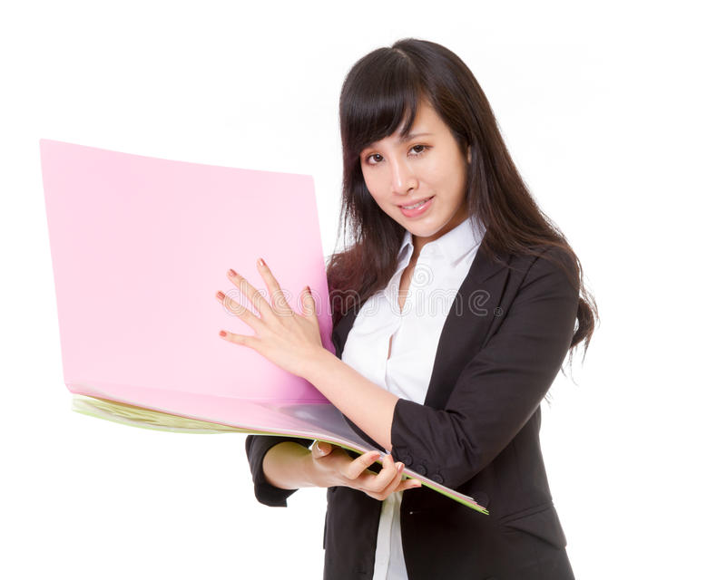 Chinese businesswoman holding bright colored folde stock image
