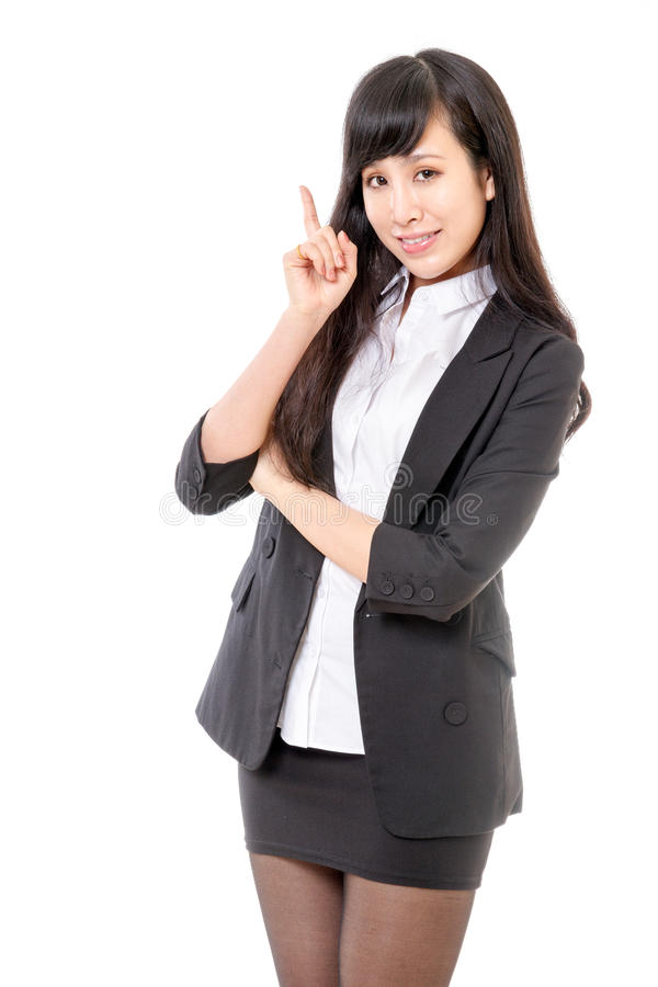 Chinese businesswoman pointing up stock photos