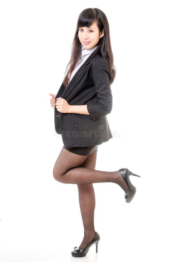 Chinese businesswoman standing isolated white stock photo