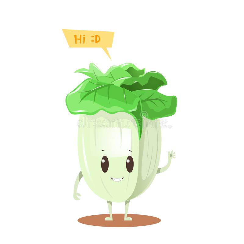 Chinese cabbage cartoon character vector design stock illustration
