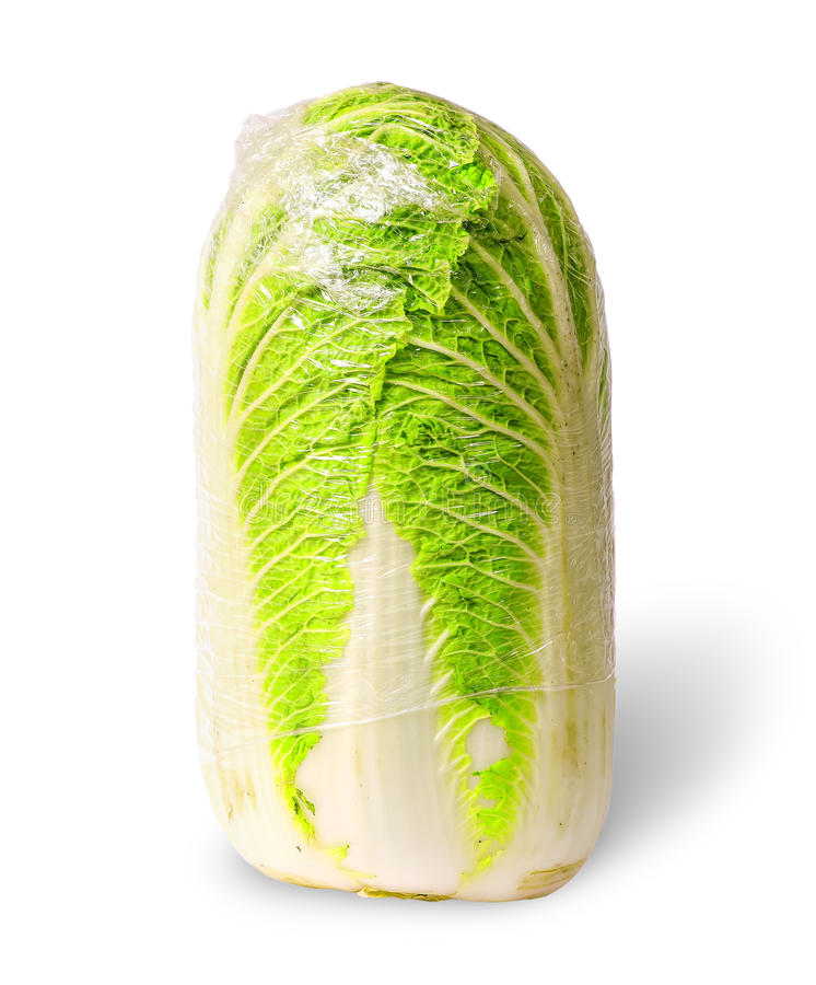 Chinese cabbage packed into polyethylene royalty free stock photography