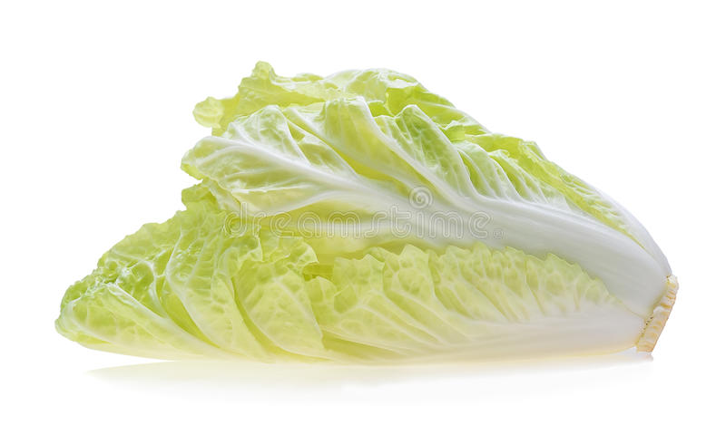 Chinese cabbage on white background stock images