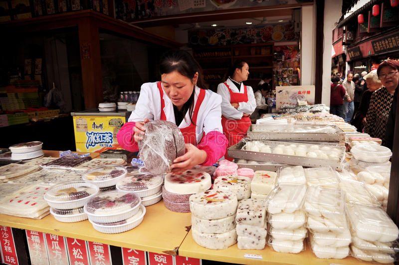 Chinese cake as famous street food stock photos