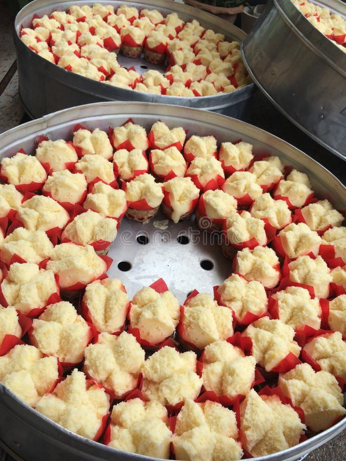 Chinese cake. Baked Chinese cake that just streamed royalty free stock photos